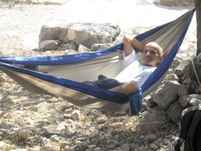 Avner in hammock at Hirbet Nezer
